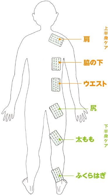 上半身ケア(肩・脇の下・ウエスト)、下半身ケア(太もも・ふくらはぎ)